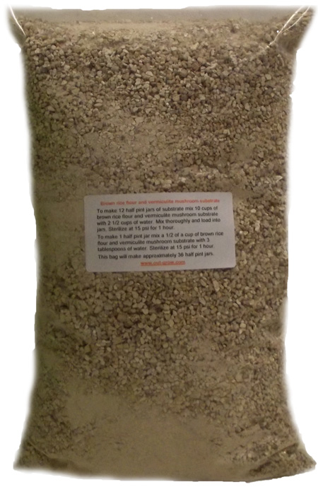 Brown rice flour and vermiculite mushroom substrate
