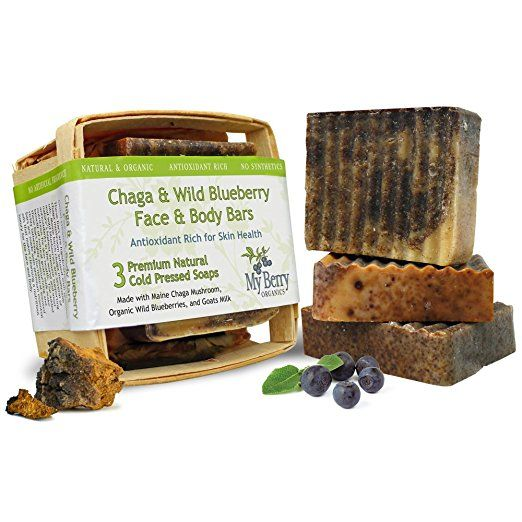 Chaga & Wild Blueberry Face & Body Bars, 3 bars